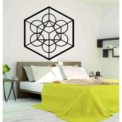 Wooden geometric painting on the harvest wall