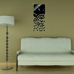 Wall clock black mirror. Falling midnight rain.
