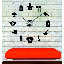 Sentop - large modern wall clock sticking to the kitchen and black SZ066
