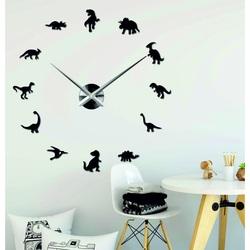 Sentop - Mirror wall clock large DINOSAURY and black SZ067