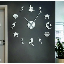 Sentop - Mirror wall clock fantasy mermaid and silver SZ068