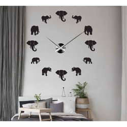 Sentop - Modern stick-on wall clock on the wall of elephant and gold SZ070