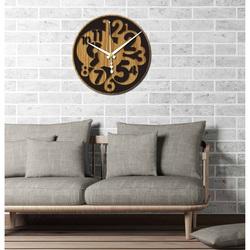 Sentop - Modern wall clock number HDKF019 MDF oak - black