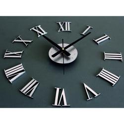 Stick-3D metal wall clock Roman čísla.Tmavo gray to black. Material: PMMA, plexiglass