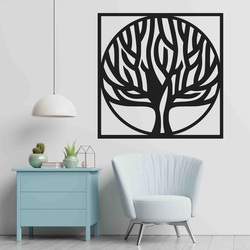 Stylesa - Wooden painting on a tree wall in a frame UASVED  picture on the wall sticker