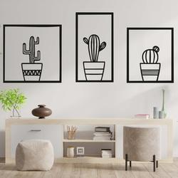 Stylish three - part wall painting - CACTUSES l SENTOP