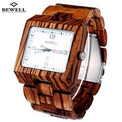 Ceas de mână din lemn cu nervuri de culoare roșu închis. Bewell