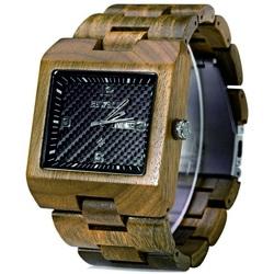 Ceas de mana cu nervuri din lemn ocru Bewell