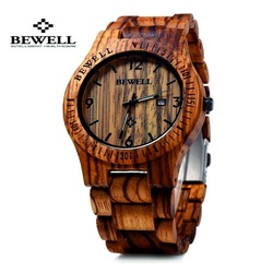 Wooden wristwatch ribbed brown walnut. Bewell