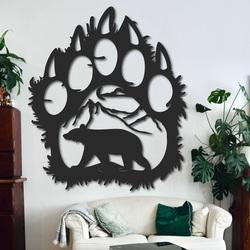 Large wooden wall decor bear footprint - SOPORTAR | SENTOP