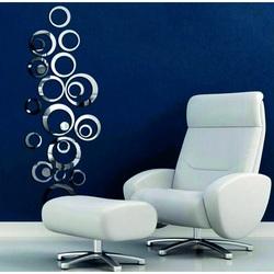 Wall stickers - silver rings, 4x13.6 cm, 4x11, 4x9, 4x5,5, 4x4, 4x dots