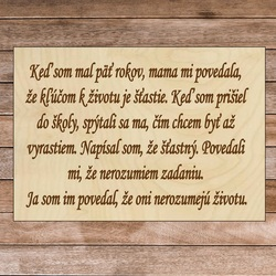 Wood sign with text - The key to life | SENTOP