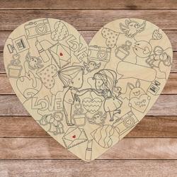 Puzzle din lemn în formă de inimă - IUBIREA | SENTOP