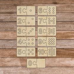Insert Montessori din lemn pentru copii - două piese DOMINO | SENTOP