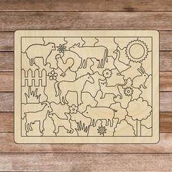 Drevená montessori zmyslová pomôcka - Zvieratká na farme | SENTOP H018 Topoľ