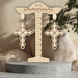 Wooden natural hanging earrings CROSS- MONATY | SENTOP