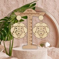 Wooden natural hanging earrings AURORA - MONATY | SENTOP