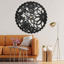 Wooden wall clock - butterfly meadow - black and colored | SENTOP PR0445