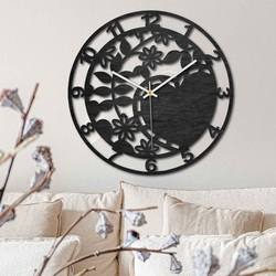 Wooden clock - lovely nature - black and natural | SENTOP PR0446