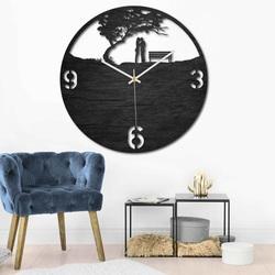 Dřevěné hodiny - pár v parku - přírodní i barevné   SENTOP PR0448