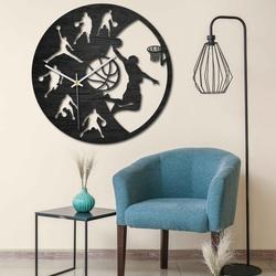 Wooden clock - Basketball - Black and colored | SENTOP PR0449