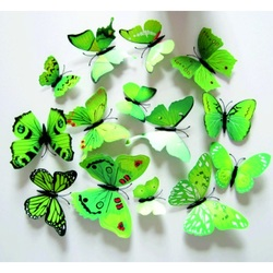 3D Decorative butterflies Green - 1 pack contains 12 pieces