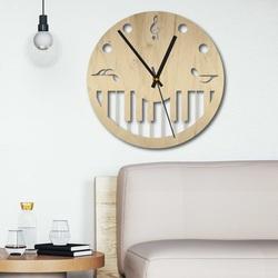 Wooden wall clock - Sheet music black and color | SENTOP PR0453