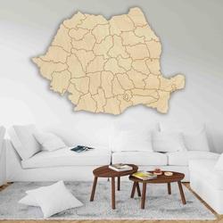 Wooden map on the wall Romania - 42 pcs | SENTOP