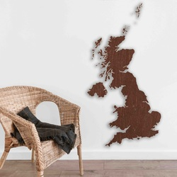 Wooden map on the wall United Kingdom   SENTOP