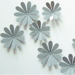 3D adhesive flowers on the wall - Gray - 1 pack contains 12 pcs