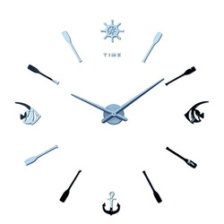 Modern modern wall clock Fish. SILVER. Home Salon Decoration 3D Mirror Surface Stickers.