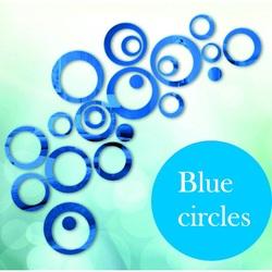 Decoration, Wall Sticker - Blue Circles, cm 4x13.6, 4x11, 4x9, 4x5.5, 4x4, 4x dots.