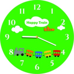 Wall clock for children green, playful colors. Size 30 x 30 cm