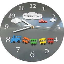 Wall clock for kids train color gray. Size 30x30 cm CLOUD