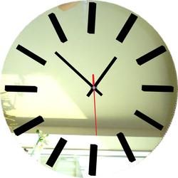 Mirror Wall Clock - SILVER-color: mirror, black