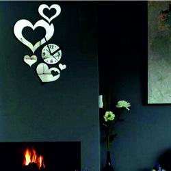 Modern adhesive wall clock heart, mirror.