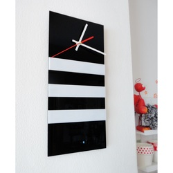 Elegant 3D wall clock NATZ, color: black, white
