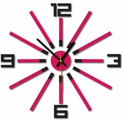 3D color wall clock WARRAS, color: black, pink