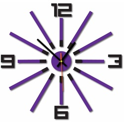 3D colored wall clock WARRAS, color: black, purple