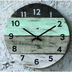Wooden clock on the house. grandma