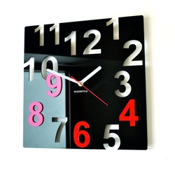 Modern Wall Clock-COLOR NUMBERS-Color: Black, Red