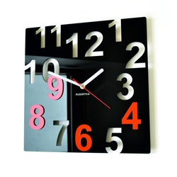 Modern wall clocks-COLOR NUMBERS-Color: black, orange