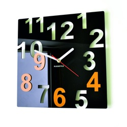 Modern Wall Clock-Color Numbers, Color: Black, Yellow