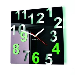 Modern Wall Clock-Color Numbers, Color: Black, Light Green