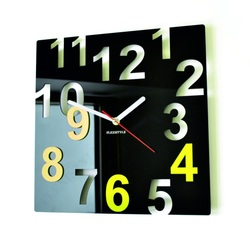 Modern Wall Clock-Color Numbers, Color: Black, Light Yellow