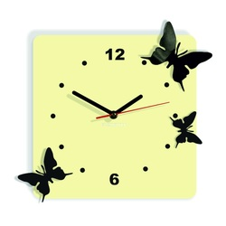 Modern wall clock made of plastic-Butterflies, Color: white coffee, black, Size: 30x30 cm