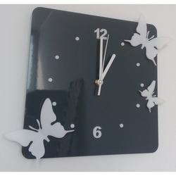 Modern wall clock made of plastic-Butterflies, Color: Gray, white, Size: 30x30 cm