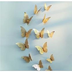 Trendy wall sticker-golden butterfly, 1 set - 12pcs
