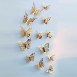 Stylish wall sticker -gold butterfly, 1 set - 12pcs