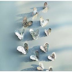 Mirror wall sticker-silver butterfly, 1 set - 12pcs